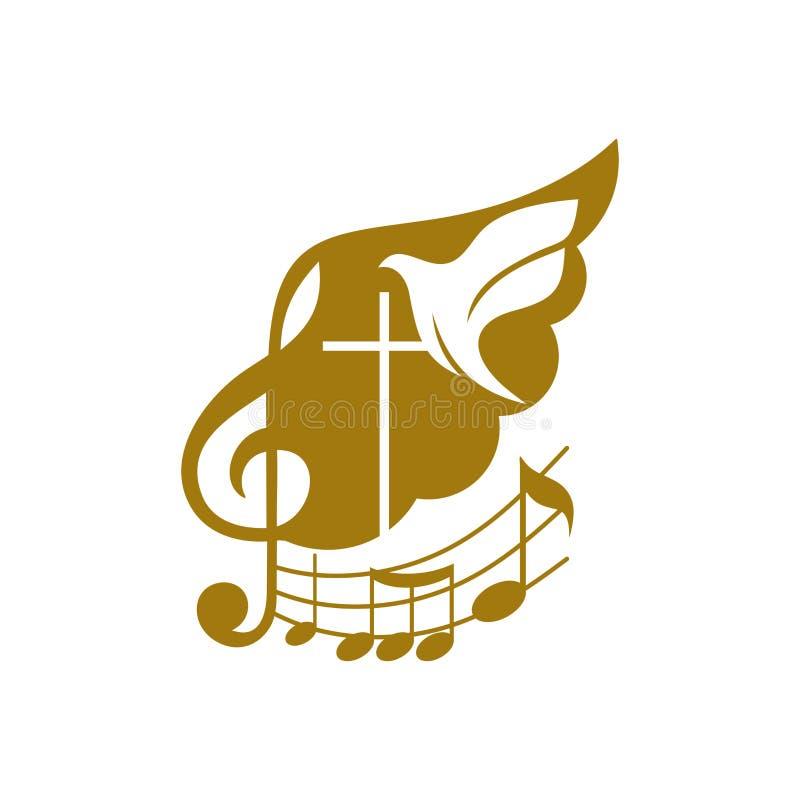 Logotipo de la música Símbolos cristianos La cruz de Jesús, de la clave de sol y del vuelo se zambulló vuelo libre illustration