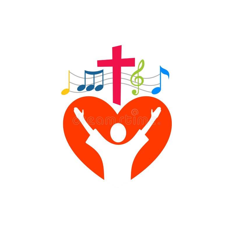 Logotipo de la música Símbolos cristianos El creyente adora a Jesus Christ, canta la gloria a dios libre illustration