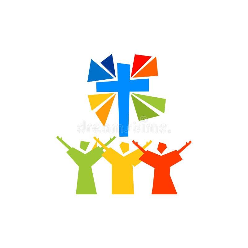 Logotipo de la música Símbolos cristianos El creyente adora a Jesus Christ, canta la gloria a dios stock de ilustración