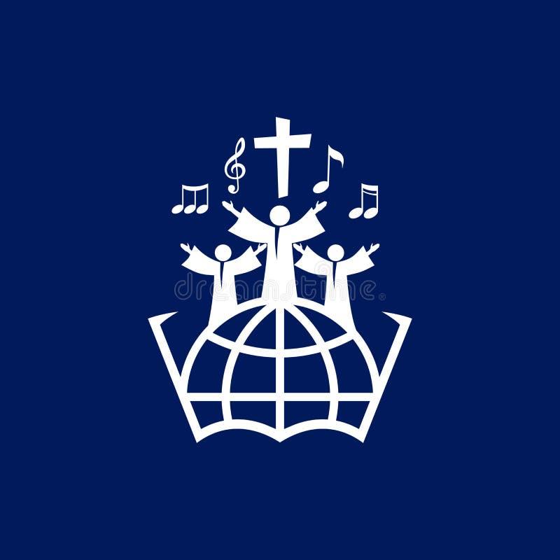 Logotipo de la música Símbolos cristianos La gente de todas las naciones y nacionalidades canta una canción de la adoración a dio stock de ilustración