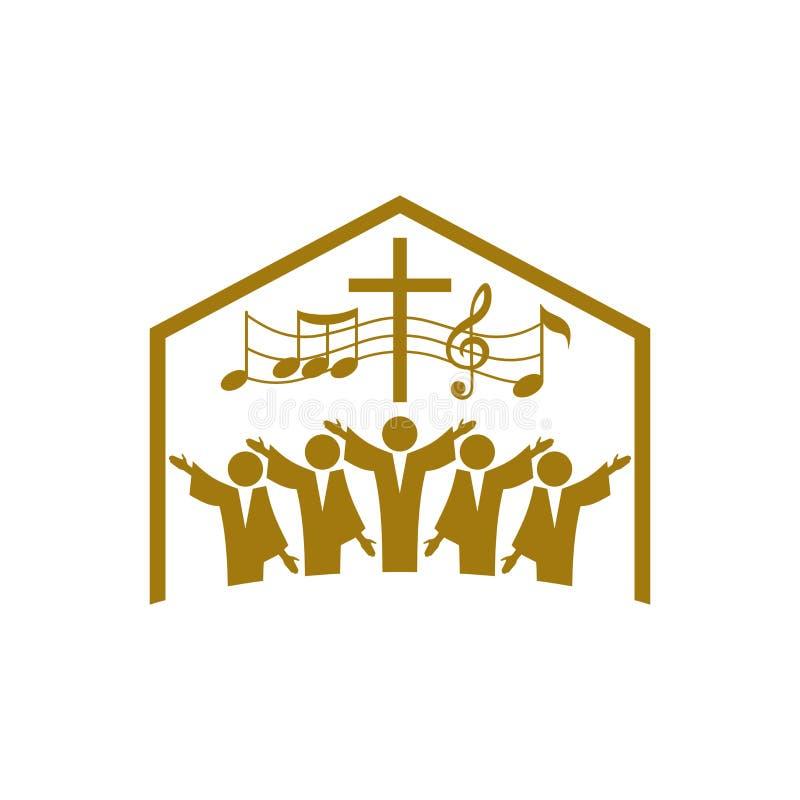 Logotipo de la música Símbolos cristianos La iglesia de dios canta a Jesus Christ una canción de la gloria libre illustration