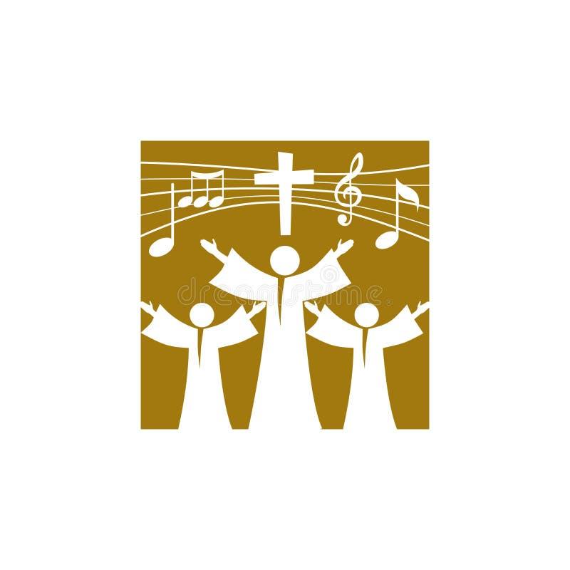 Logotipo de la música Símbolos cristianos Los creyentes en Jesús cantan una canción de la glorificación al señor libre illustration