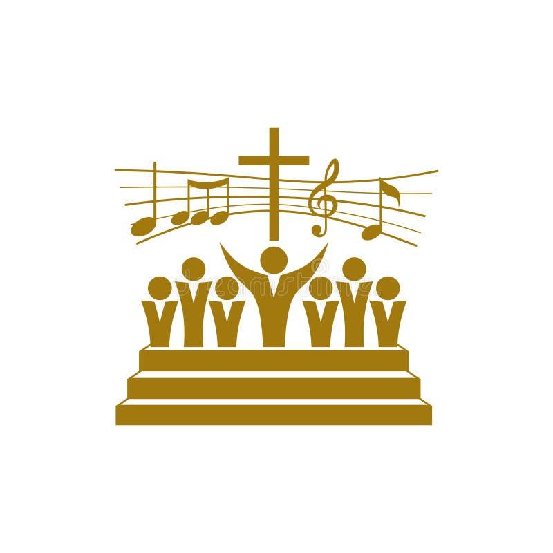 Logotipo de la música Símbolos cristianos Un estribillo en la tierra elogia a Jesus Christ ilustración del vector