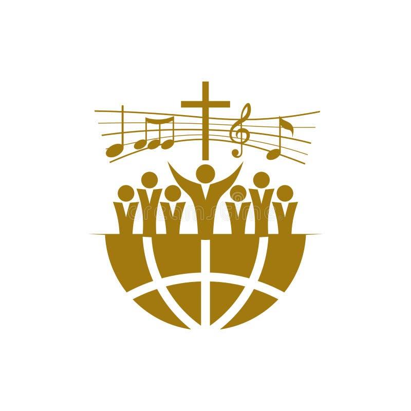 Logotipo de la música Símbolos cristianos Un estribillo en la tierra elogia a Jesus Christ libre illustration