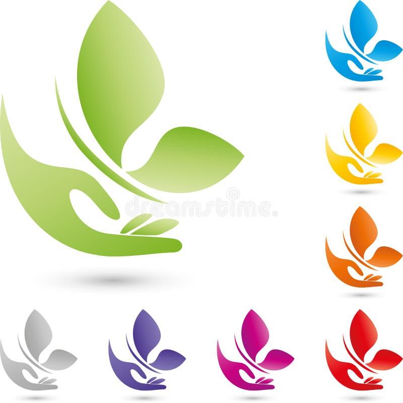 Logotipo de la mano y de la mariposa, de la salud y del cosmético ilustración del vector