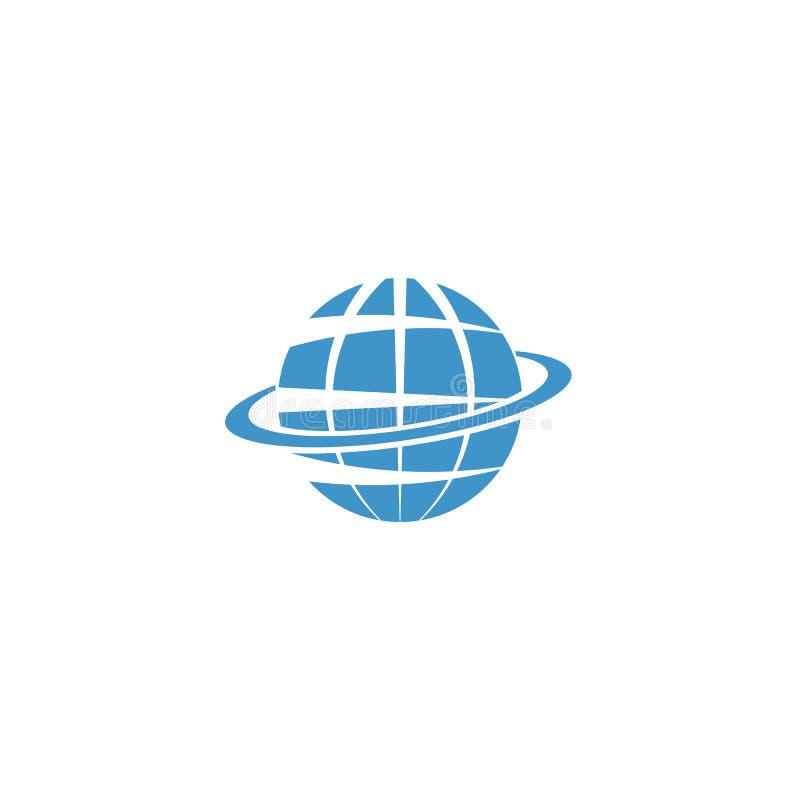 Logotipo de la maqueta del globo, símbolo azul de la muestra de la tierra, de Internet o del viaje libre illustration