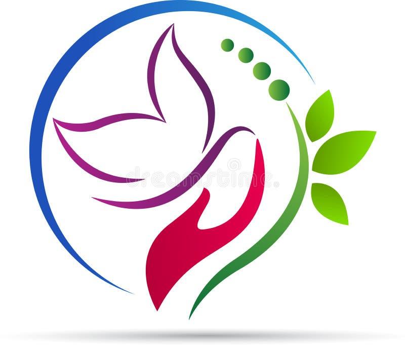Logotipo de la mariposa de la mano ilustración del vector