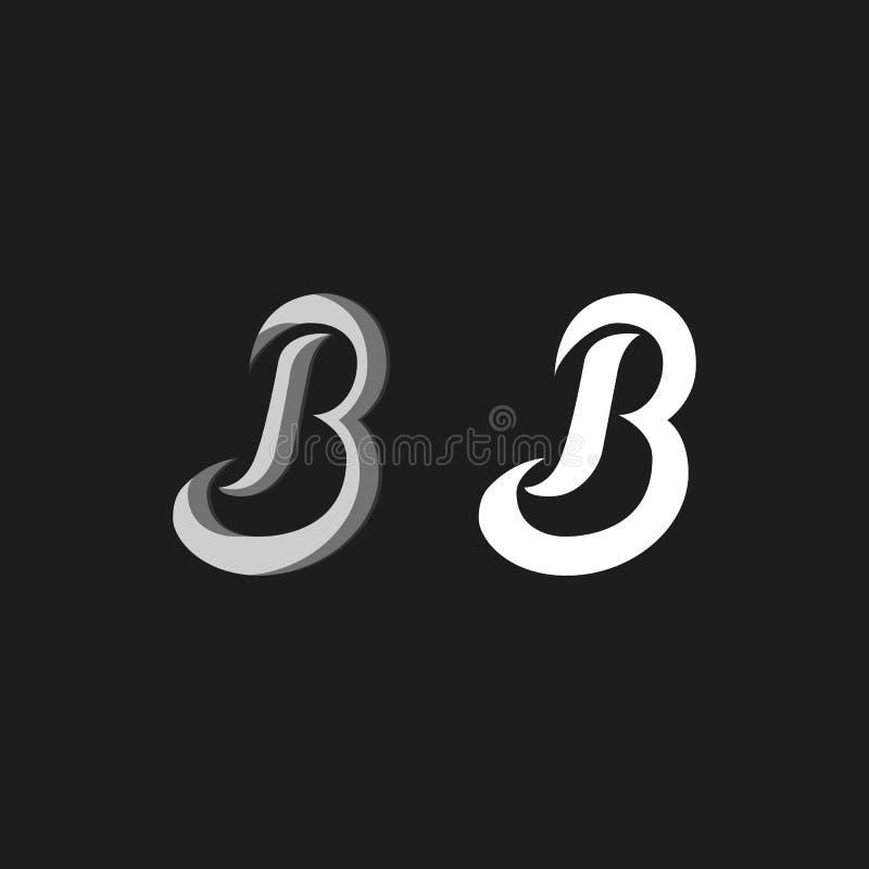 Logotipo de la mayúscula B en estilo de la pintada, emblema elegante del monograma manuscrito linear de las iniciales del sistema stock de ilustración