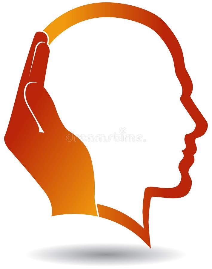 Logotipo de la mente de la mano amiga en la cabeza del hombre ilustración del vector