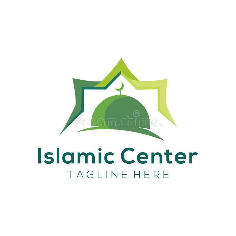 Logotipo de la mezquita moderna y diseño de centro islámicos del icono libre illustration