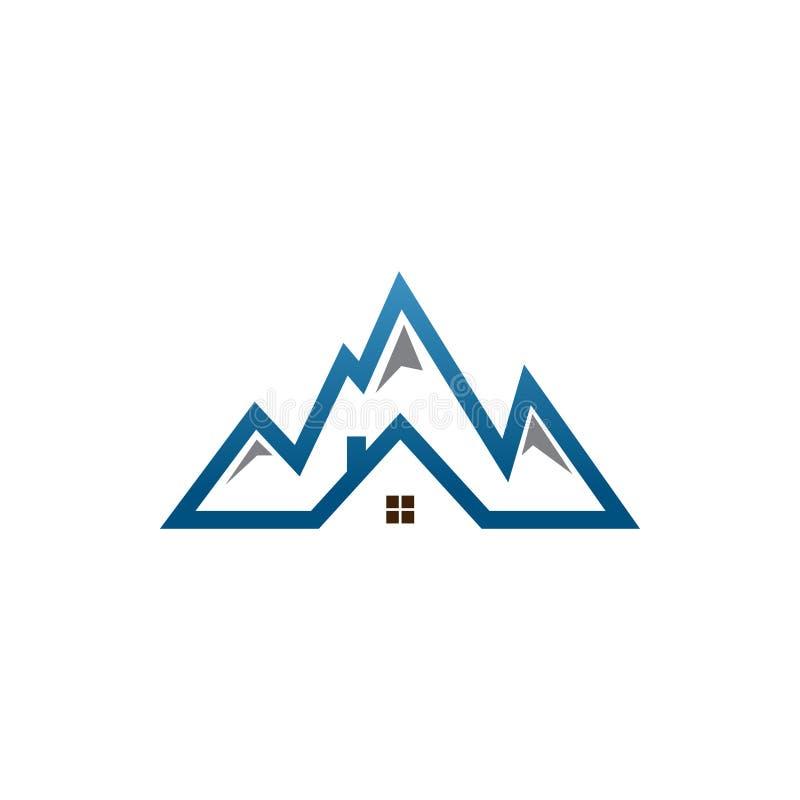Logotipo de la montaña de la casa de las propiedades inmobiliarias ilustración del vector