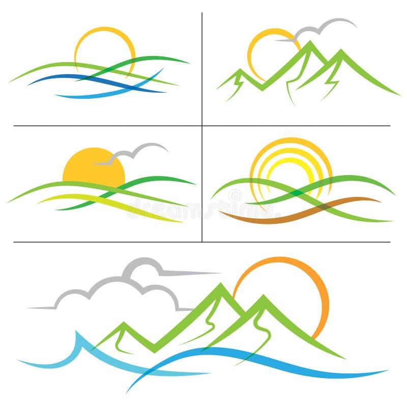 Logotipo de la montaña de la salida del sol de la naturaleza libre illustration