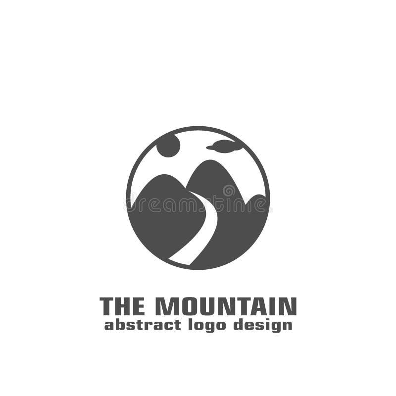 Logotipo de la montaña en círculo stock de ilustración