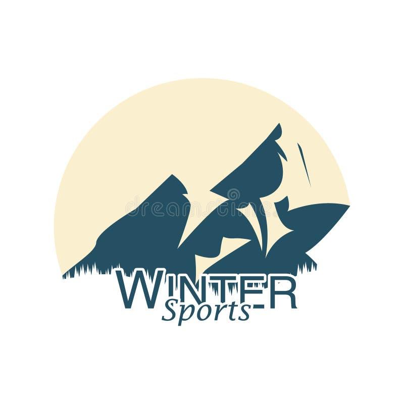 Logotipo de la montaña para los deportes de invierno Deportes extremos Ilustración del vector stock de ilustración