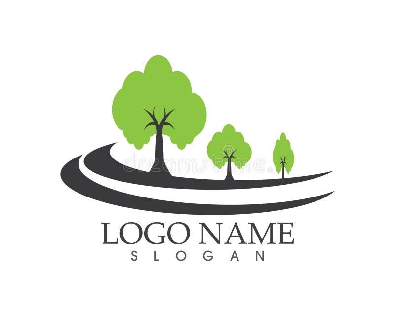 Logotipo de la muestra del icono del camino del árbol ilustración del vector