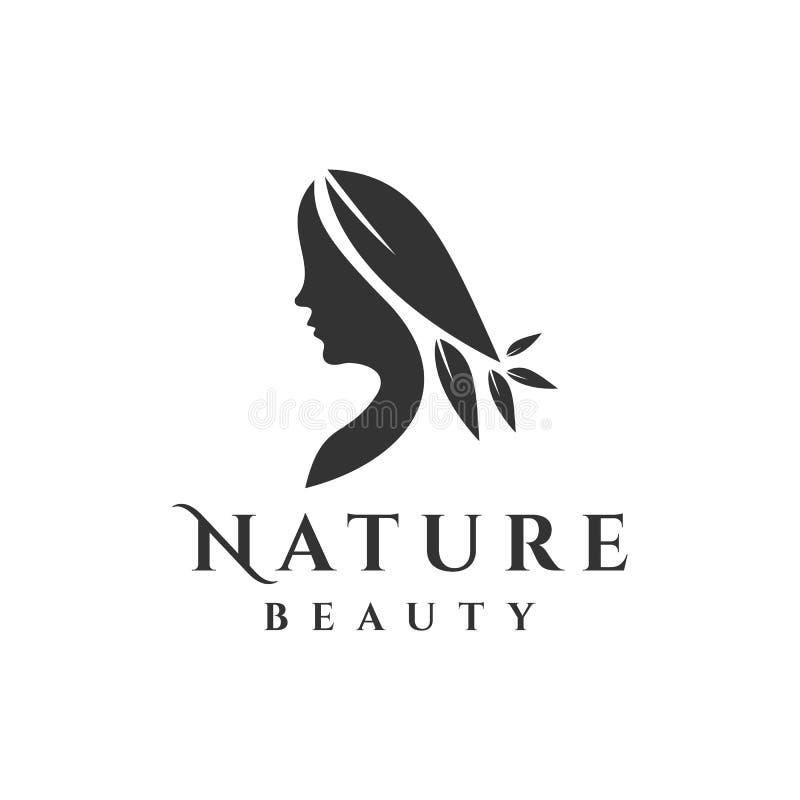 Logotipo de la mujer con vector de la hoja libre illustration