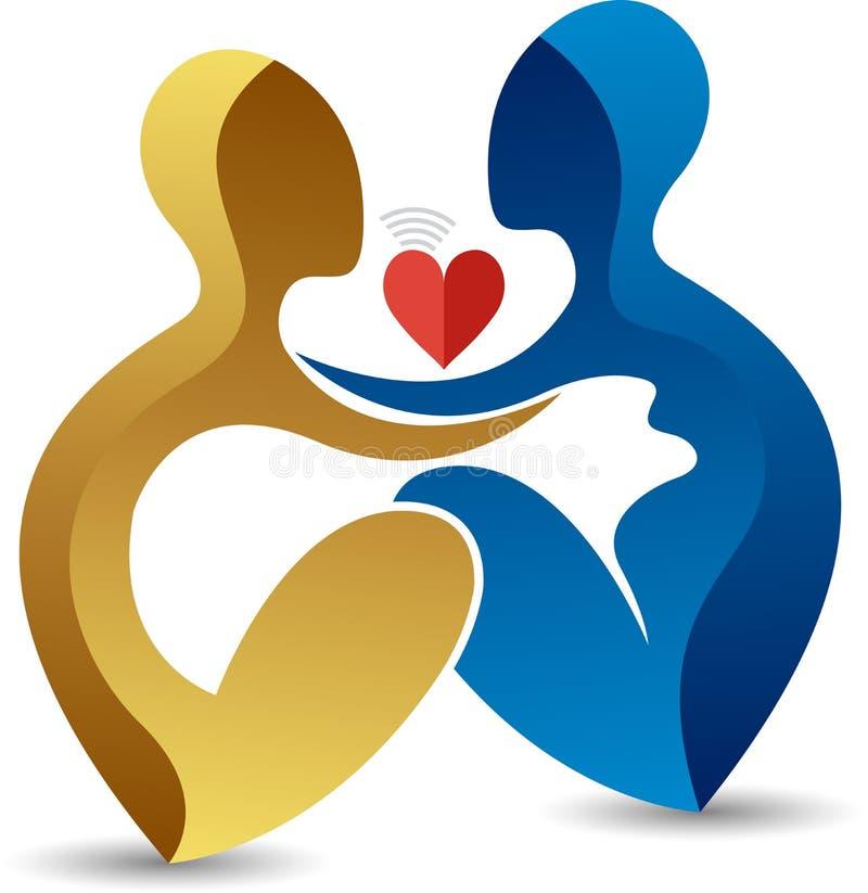 Logotipo de la mujer embarazada del afecto stock de ilustración