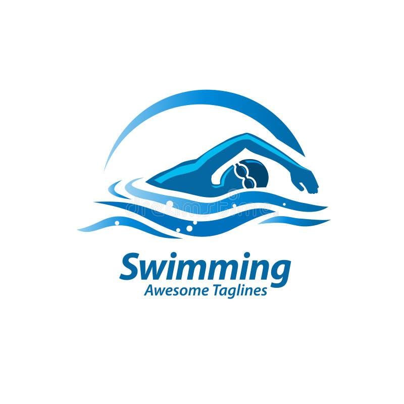 Logotipo de la natación stock de ilustración