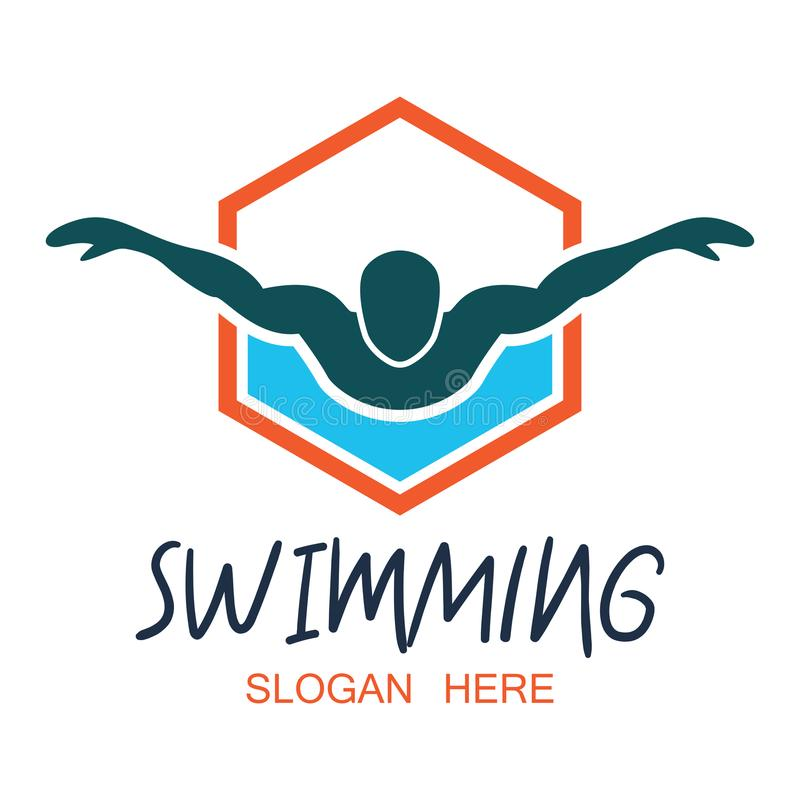 Logotipo de la natación con el espacio del texto para su lema/eslogan libre illustration