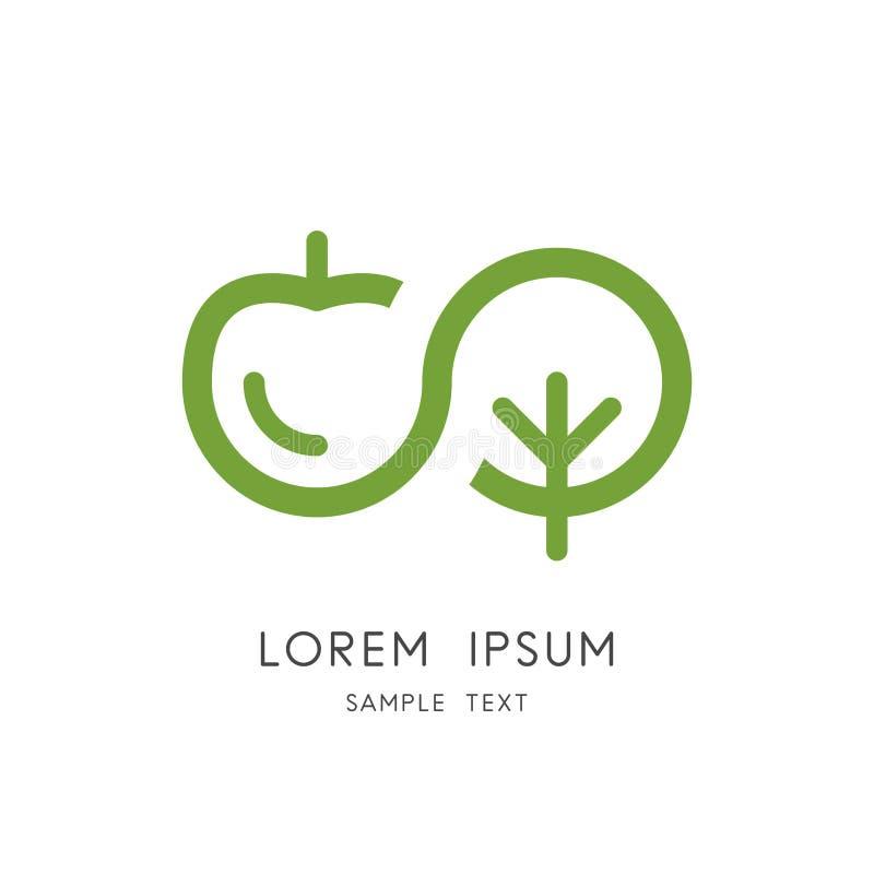 Logotipo de la naturaleza del infinito - símbolo de la manzana y del árbol ilustración del vector