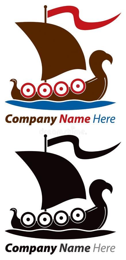 Logotipo de la nave de Viking stock de ilustración