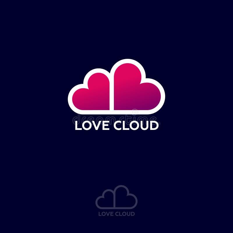 Logotipo de la nube del amor Emblema del sitio web de la datación Fechar charla Los corazones rosados les gusta la nube stock de ilustración