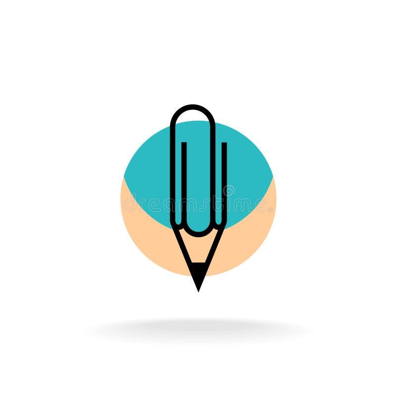 Logotipo de la oficina del lápiz y del clérigo del símbolo del paperclip stock de ilustración