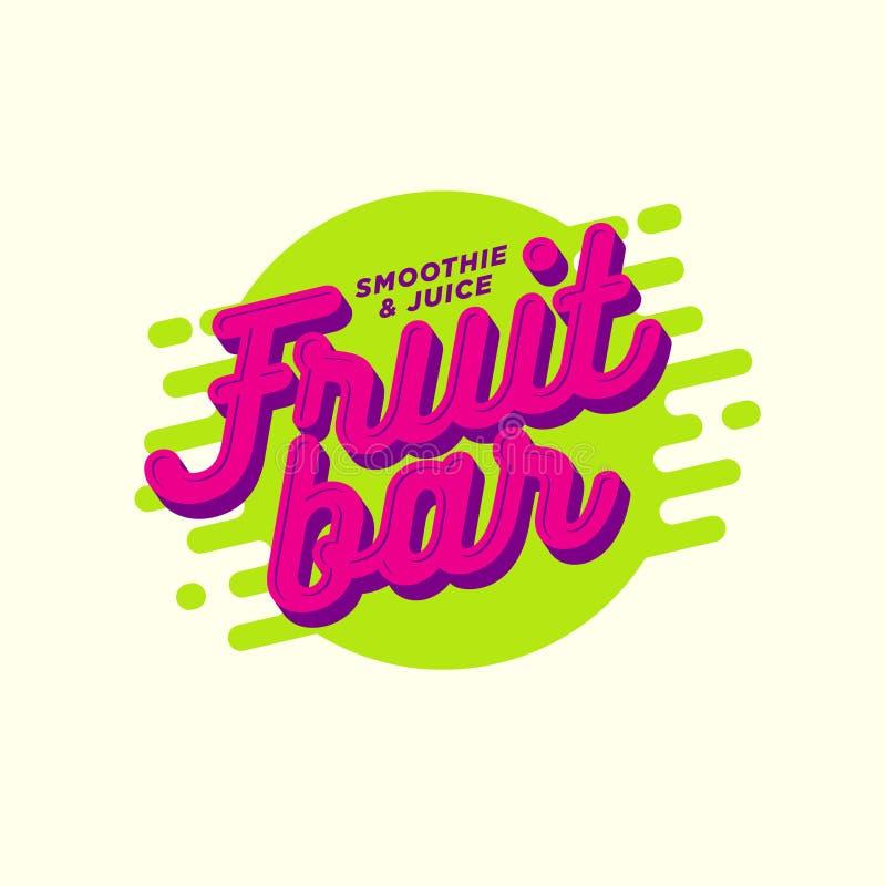 Logotipo de la paleta helada de fruta Smoothie, detox y café sabroso del jugo Bebidas sanas ilustración del vector