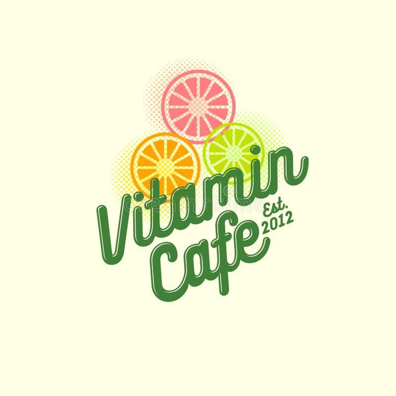 Logotipo de la paleta helada de fruta Smoothie, detox y café sabroso del jugo Bebidas sanas stock de ilustración