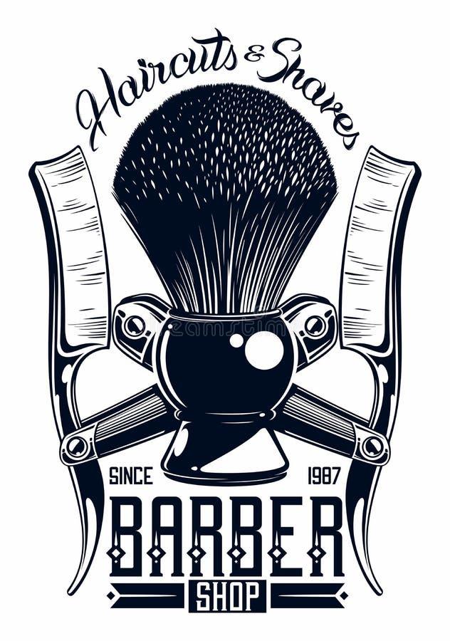 Logotipo de la peluquería de caballeros libre illustration
