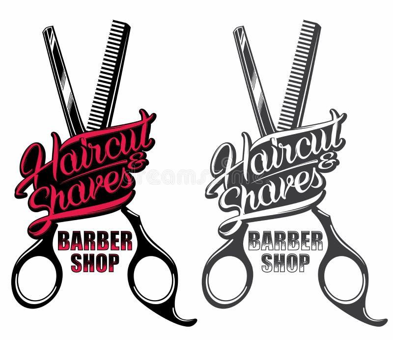 Logotipo de la peluquería de caballeros stock de ilustración