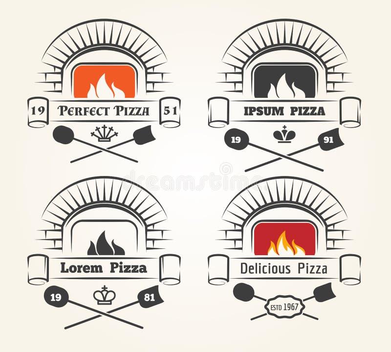 Logotipo de la pizza del horno de la leña stock de ilustración