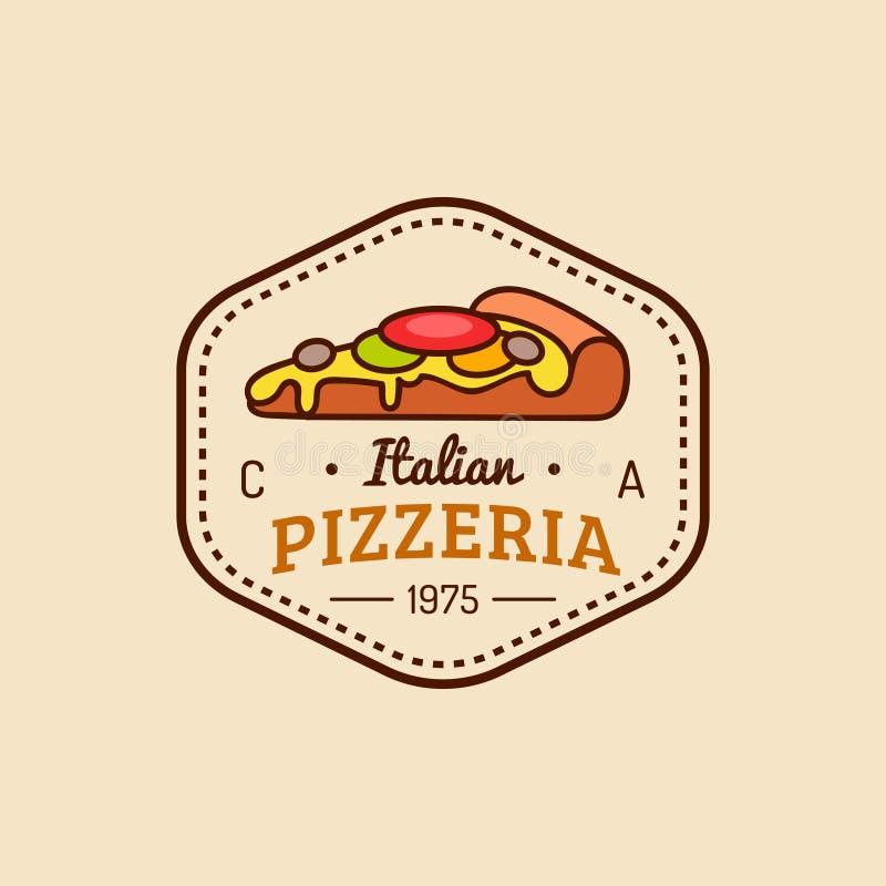 Logotipo de la pizza Emblema moderno de la pizzería del vector, icono Etiqueta italiana de la comida del inconformista del vintag libre illustration