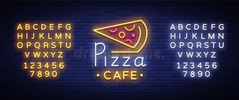 Logotipo de la pizza en el estilo de neón Señal de neón, emblema en la comida italiana Café de la pizza, restaurante, alimentos d stock de ilustración