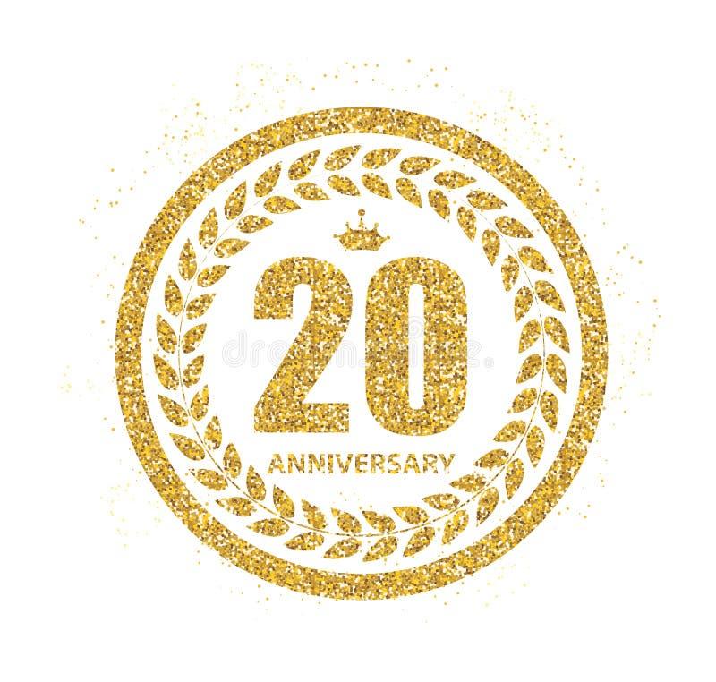 Logotipo de la plantilla 20 años del aniversario de ejemplo del vector ilustración del vector