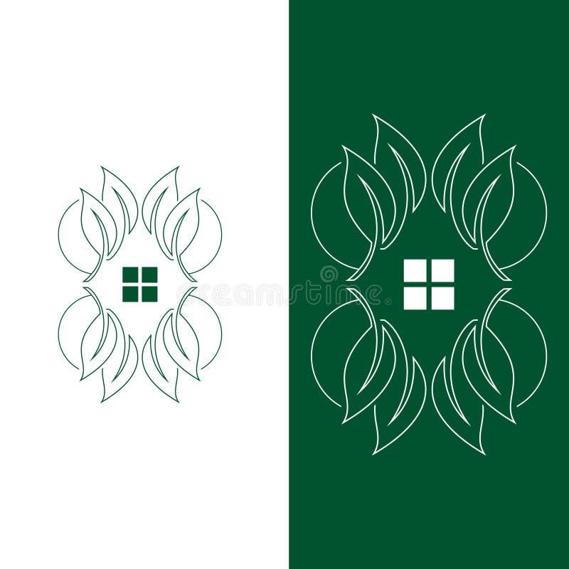 logotipo de la plantilla del símbolo de las casas en el árbol ilustración del vector