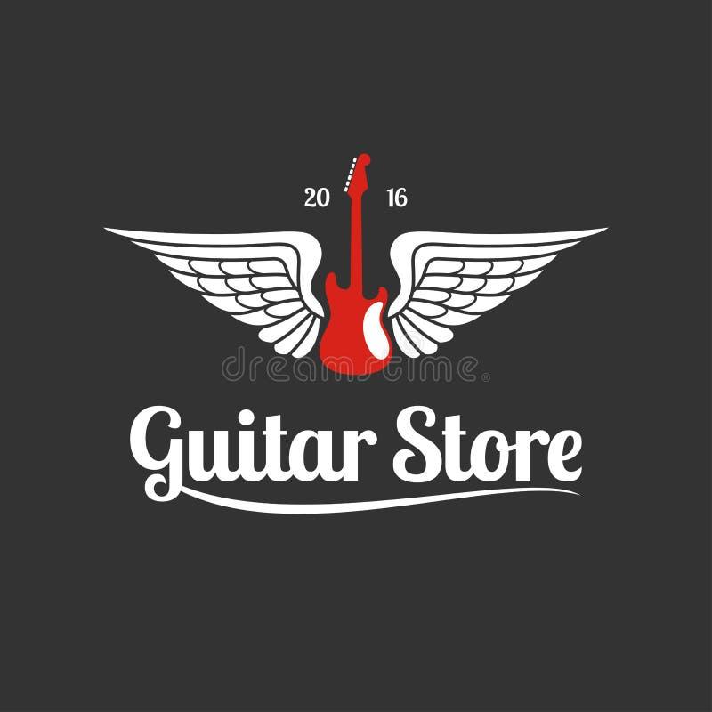 Logotipo de la plantilla del vector de la tienda de la guitarra ilustración del vector