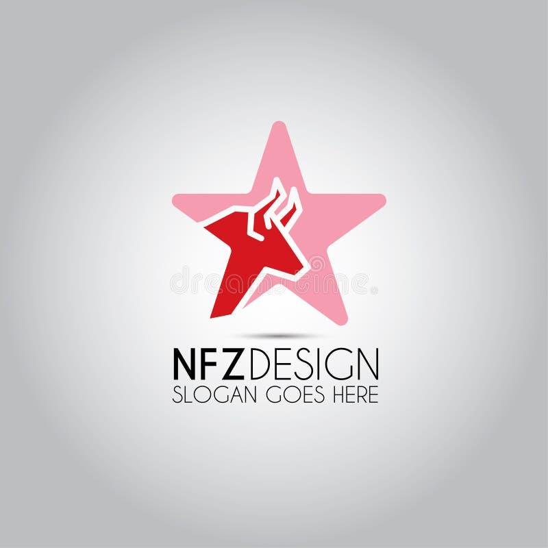 Logotipo de la plantilla de la estrella de Bull ilustración del vector