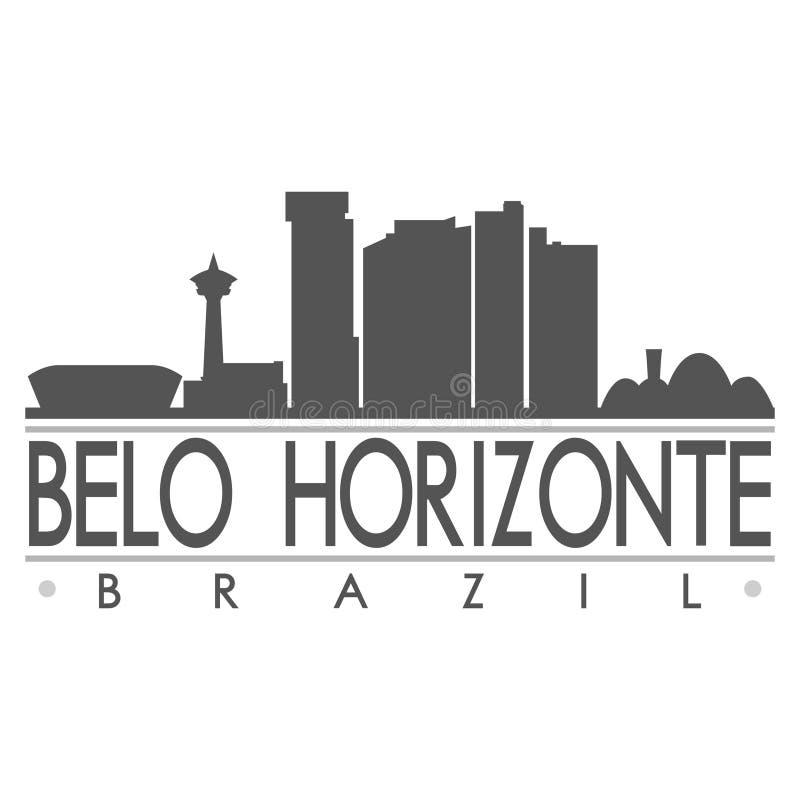 Logotipo de la plantilla de la silueta de la ciudad de Art Flat Shadow Design Skyline del vector del icono de la silueta de Belo  libre illustration
