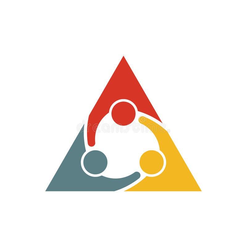 Logotipo de la reunión del triángulo de la gente stock de ilustración
