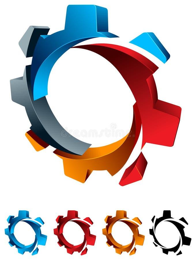 Logotipo de la rueda dentada stock de ilustración