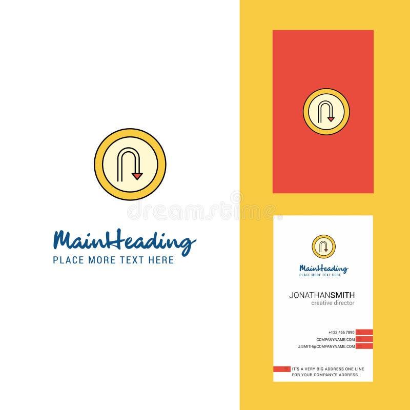 Logotipo de la señal de tráfico de la vuelta de U y tarjeta de visita creativos vector vertical del diseño ilustración del vector