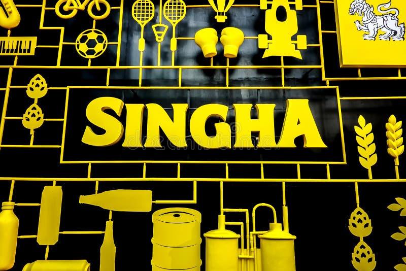 Logotipo de la selección de Singha en el mundo central el 3 de noviembre de 2018 en el festival Bangkok de la cerveza Singha es p foto de archivo