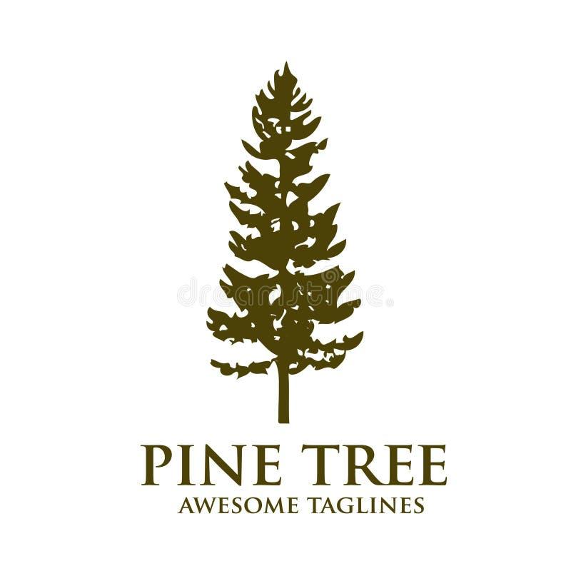 Logotipo de la silueta del verde del árbol de pino libre illustration