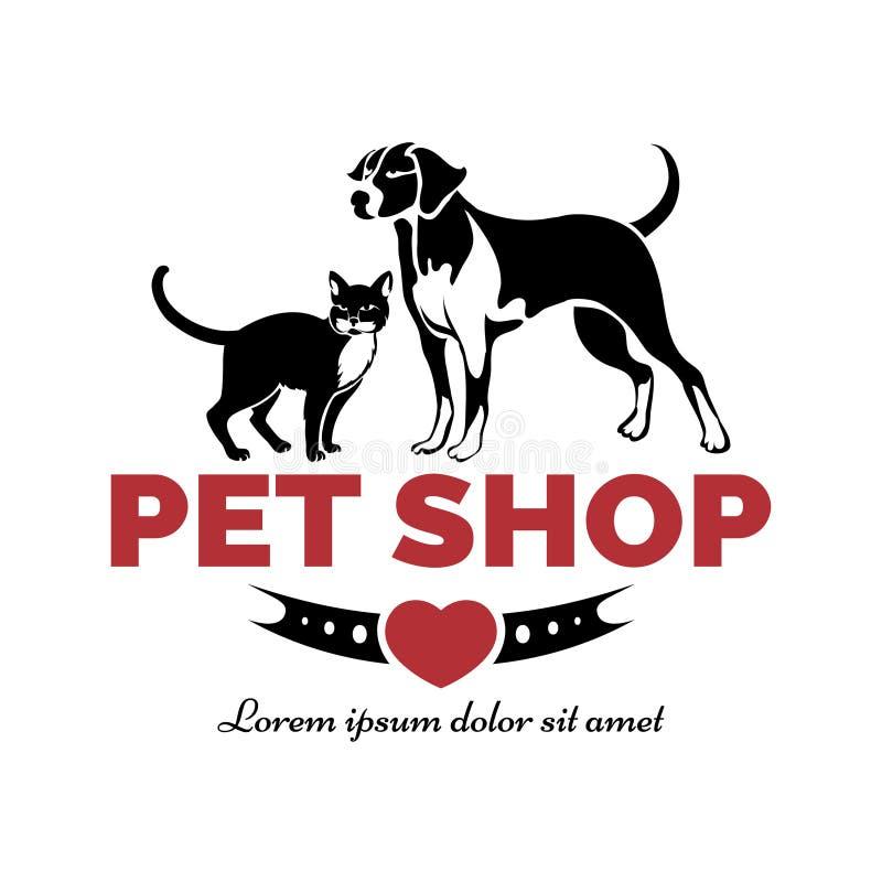 Logotipo de la tienda de animales ilustración del vector