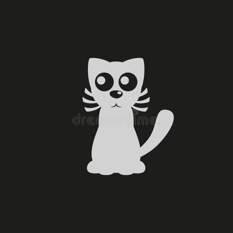 Logotipo de la tienda de animales, muestra del gato de la historieta, silueta del gato, vector libre illustration