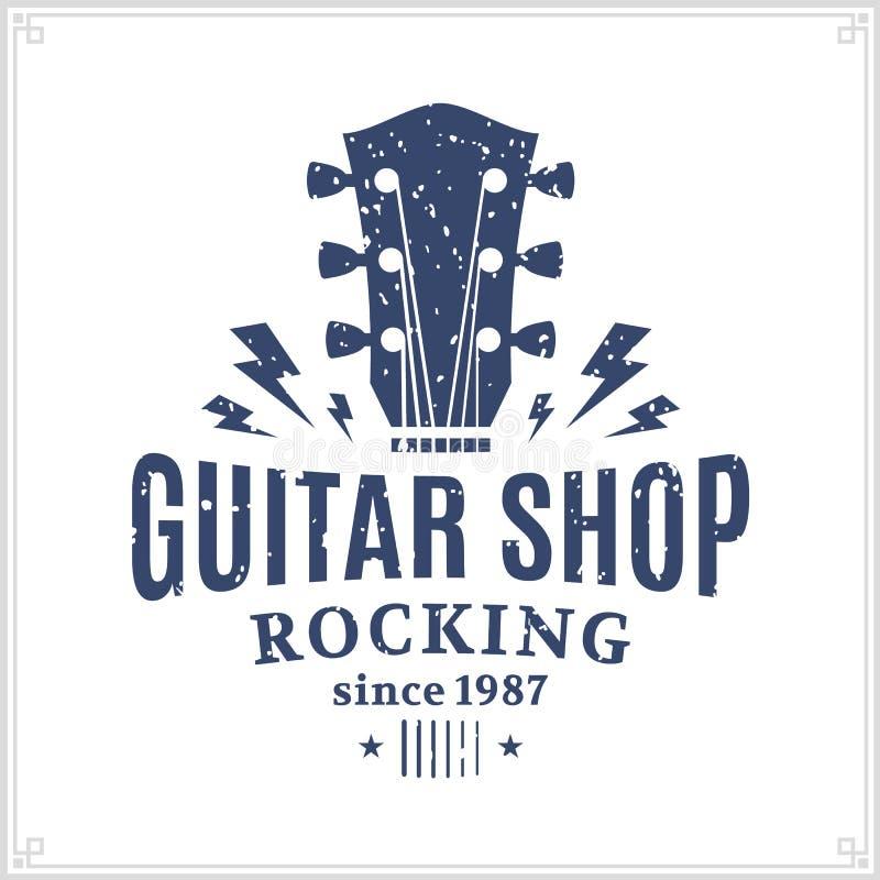 Logotipo de la tienda de la guitarra stock de ilustración