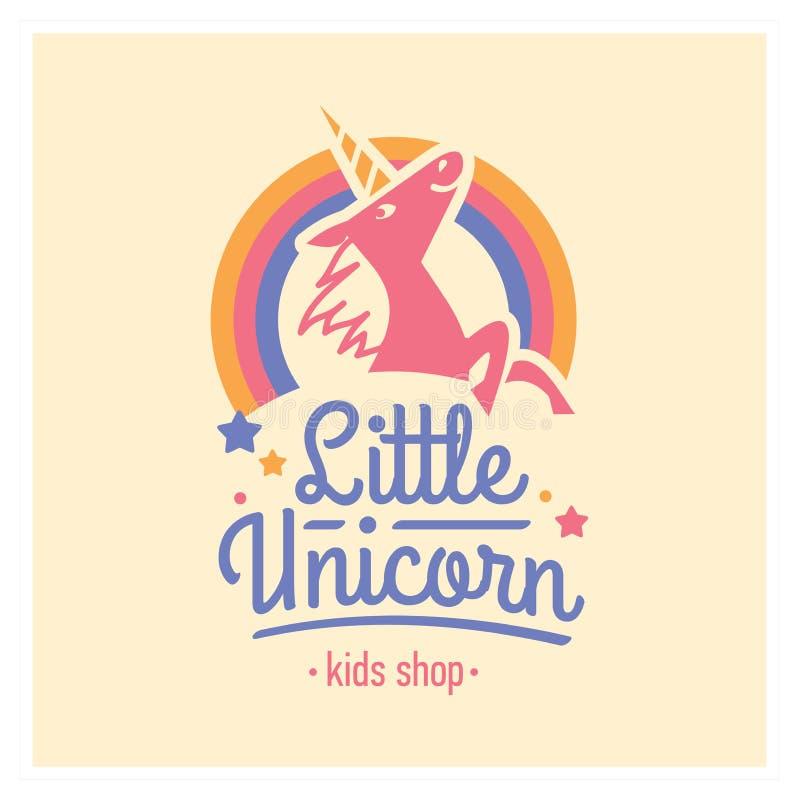 Logotipo de la tienda de los niños con unicornio rosado Muestra linda de la guardería libre illustration