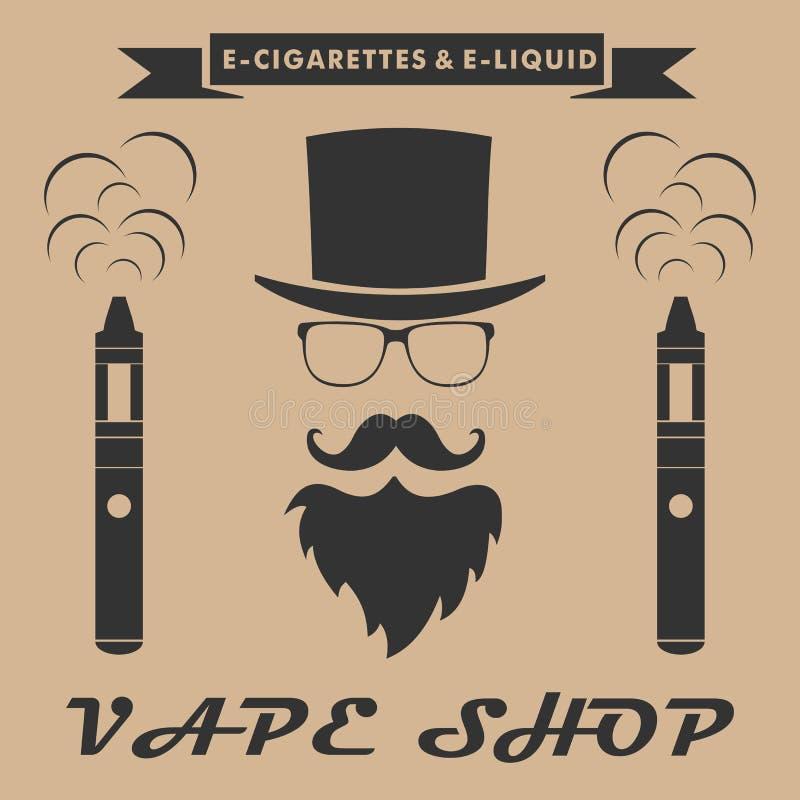 Logotipo de la tienda de Vape inconformista con el cigarrillo electrónico Prohibición de la tienda de Vape ilustración del vector