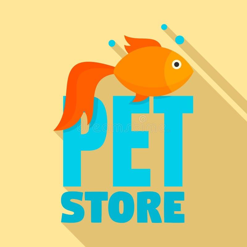 Logotipo de la tienda del animal doméstico de los pescados, estilo plano ilustración del vector